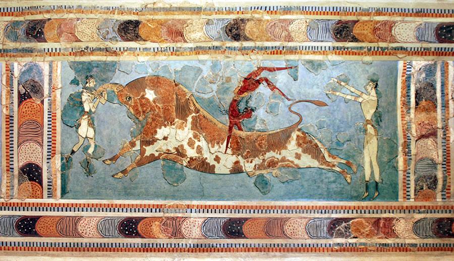 The Toreador Fresco, Knossos Palace,Cret - Anonymous as art print ...