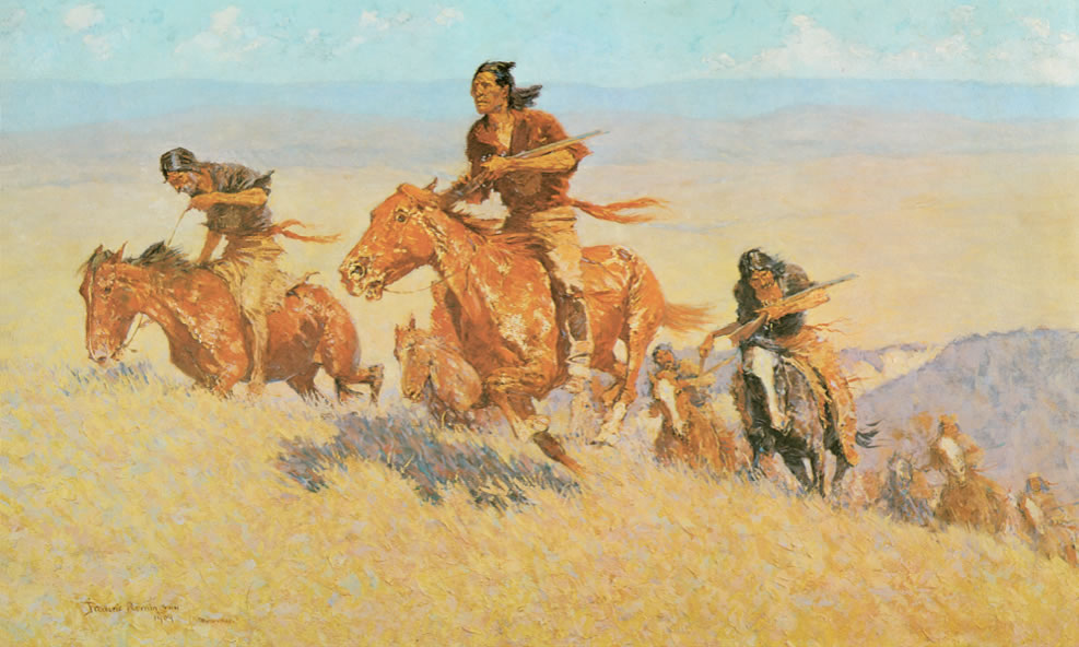 Frederic Remington1861-1909Buffalo Runners: Big Horn Basin1909Oil on canvas30 1/8 x 51 1/8 in.