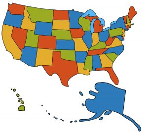 The USA with Alaska and Hawaii