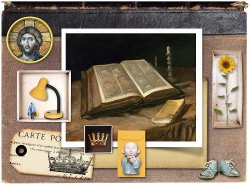 Psalm 119:105 Verse card with Van Gogh Bible