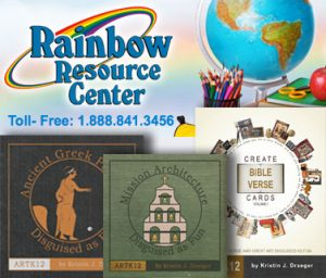 Rainbow Resource Logo with 3 ARTK12 Books: Ancient Greek Pottery, Mission Architecture, Create Bible Verse Cards