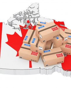 Map of Canada with shipping boxes on it.