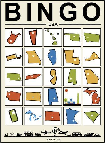 USA Bingo - Zoom Bingo Card Example 1