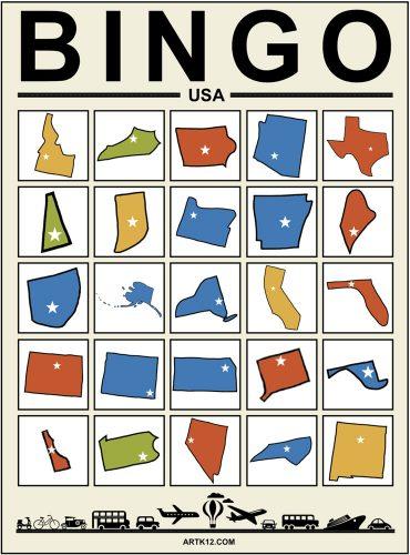 USA Bingo - Zoom Bingo Card Example 2