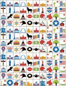 Tokens for the USA Bingo game