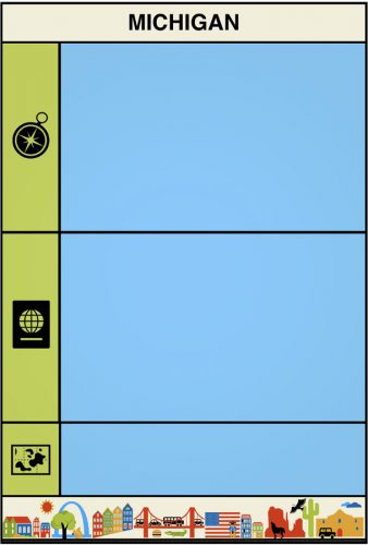USA Bingo Flash Card Text Side: Michigan