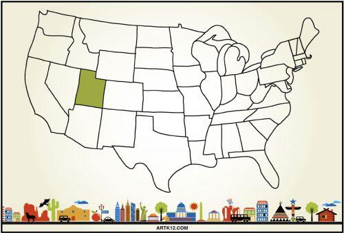 USA Bingo Flash Card: Utah