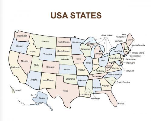 USA Bingo Map: USA States