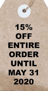 15% off entire order until May 31, 2020