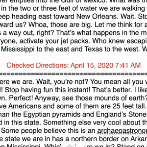 Checked directions, April 15th. Shows some draft text from USA Bingo