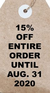 15% off entire order until Aug. 31, 2020