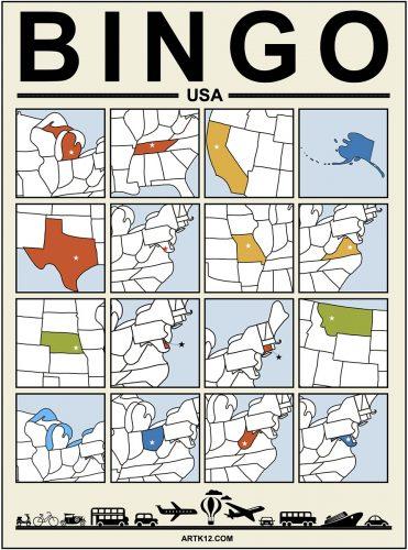 USA Bingo Card 4 x 4 Version 1