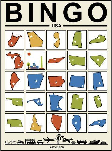 USA Bingo Card 5 x 5 Variation 1
