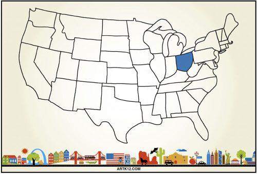 USA Flash Card Front Ohio