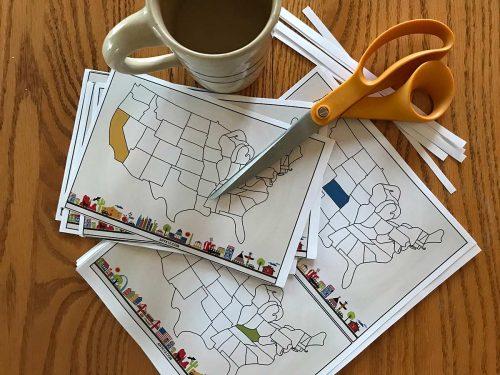 USA Bingo Flash cards with scissors
