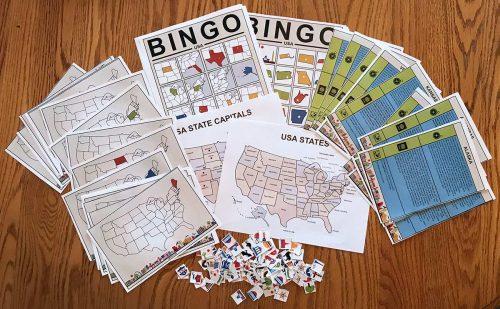 USA Bingo Everything: Bingo Cards, flash cards, tokens and maps