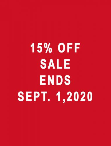 15% Off Sale Ends Sept. 1, 2020