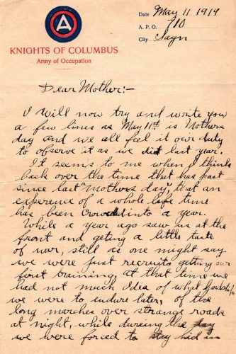 Robert E. Schalles WWI letter detail from May 11, 1919 (page one)